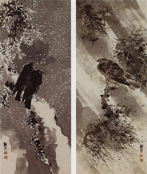 505px-A_black_hawk_and_two_crows_by_Yosa_Buson.jpg